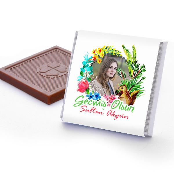 Fotoğraflı Geçmiş Olsun Çikolatası