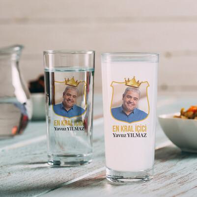 - Fotoğraflı Kral Tacı 2li Rakı Bardağı