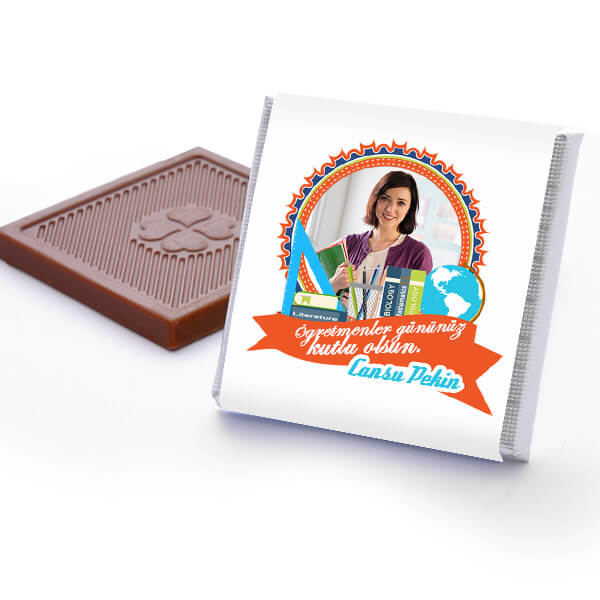 Fotoğraflı Öğretmene Hediye Çikolata Kutusu