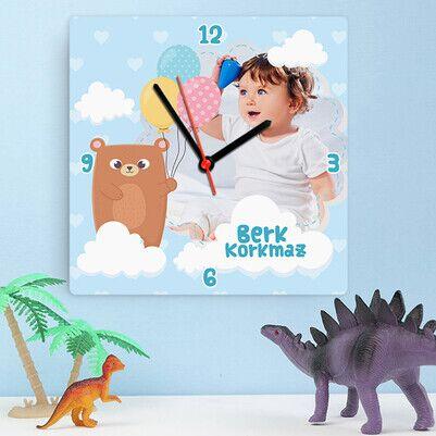 Fotoğraflı Şirin Erkek Bebek Duvar Saati - Thumbnail