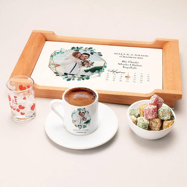 Fotoğraflı ve Tarihli Damat Kahvesi Seti