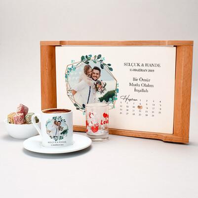 Fotoğraflı ve Tarihli Damat Kahvesi Seti - Thumbnail