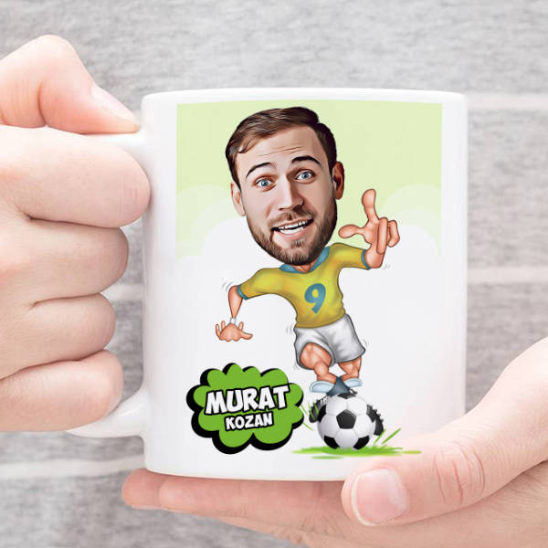 Futbol Meraklısı Karikatürlü Kupa Bardak