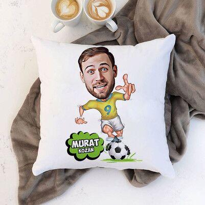 - Futbol Oyuncusu Karikatürlü Yastık