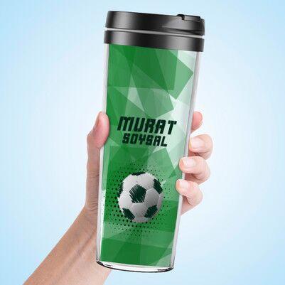 Futbol Topu Tasarımlı Termos Bardak - Thumbnail