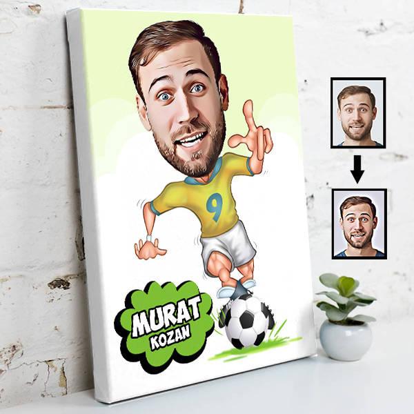 Futbolcu Karikatür Tasarım Kanvas Tablo