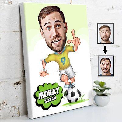 - Futbolcu Karikatür Tasarım Kanvas Tablo