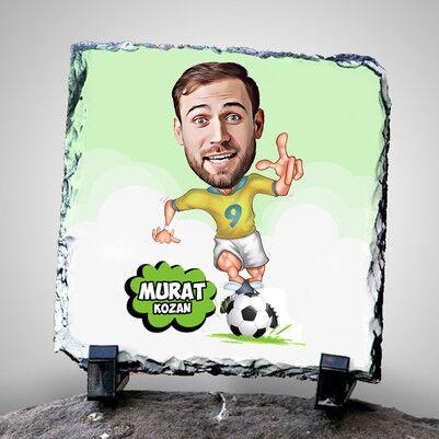 - Futbolcu Karikatürlü Dekoratif Taş