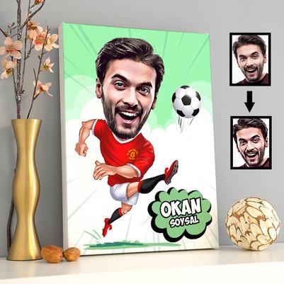 - Futbolcu Karikatürlü Kanvas Tablo