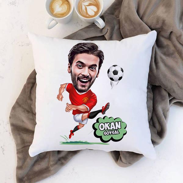 Futbolcu Karikatürlü Yastık