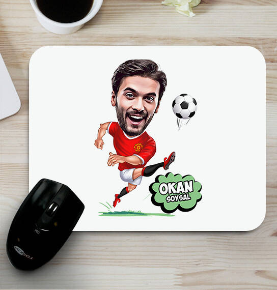 Futbolcu Kişiye Özel Karikatürlü Mousepad