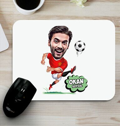 - Futbolcu Kişiye Özel Karikatürlü Mousepad