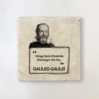 - Galileo Esprili Taş Bardak Altlığı