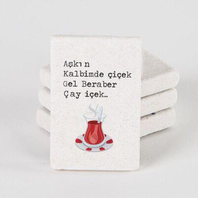 - Gel Beraber Çay İçek Taş Buzdolabı Magneti