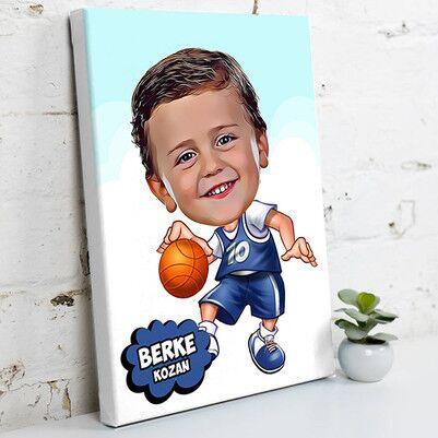 - Geleceğin Basketbolcusu Karikatürlü Kanvas Tablo