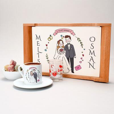 Gelin Damat Temalı Kahve Sunum Seti - Thumbnail