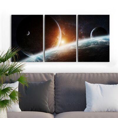Gezegen Tasarımlı 3 Parça Kanvas Tablo - Thumbnail