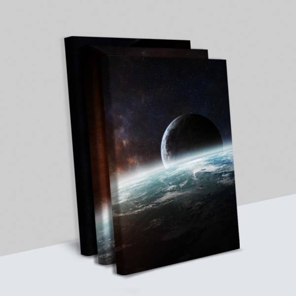 Gezegen Tasarımlı 3 Parça Kanvas Tablo
