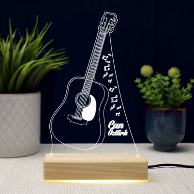 - Gitar Tasarımlı İsme Özel 3d Led Lamba