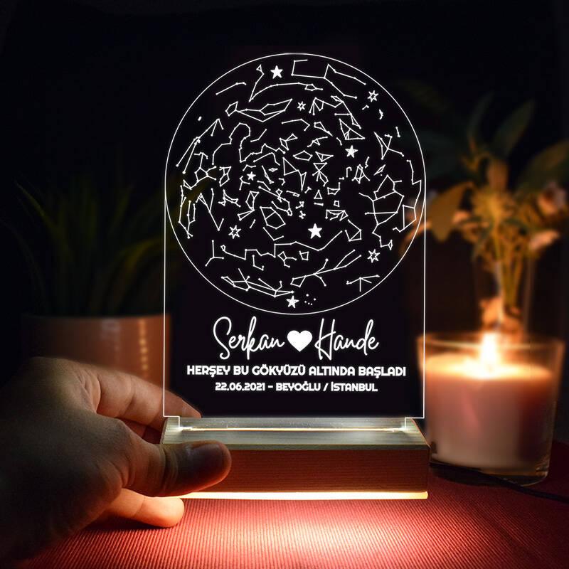 Gökyüzü Altında Aşk 3d Led Lamba