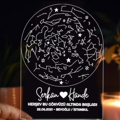 Gökyüzü Altında Aşk 3d Led Lamba - Thumbnail