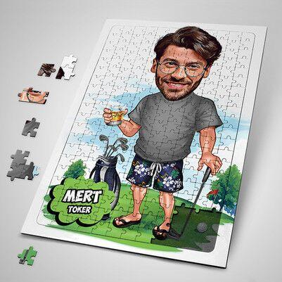 - Golf Oyuncusu Erkek Karikatürlü Puzzle