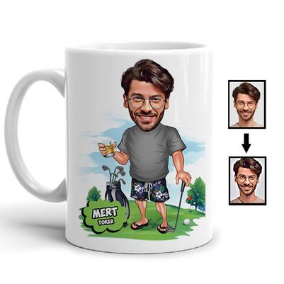 - Golf Oyuncusu Karikatürlü Kupa Bardak