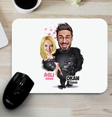 - Goril ve Sevgilisi Karikatürlü Mouse Pad