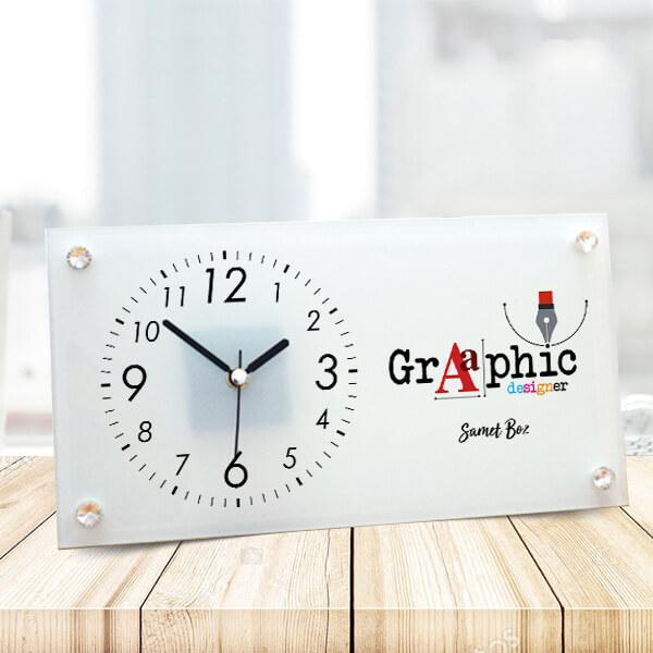Grafik Tasarımcısına Hediye Cam Masa Saati