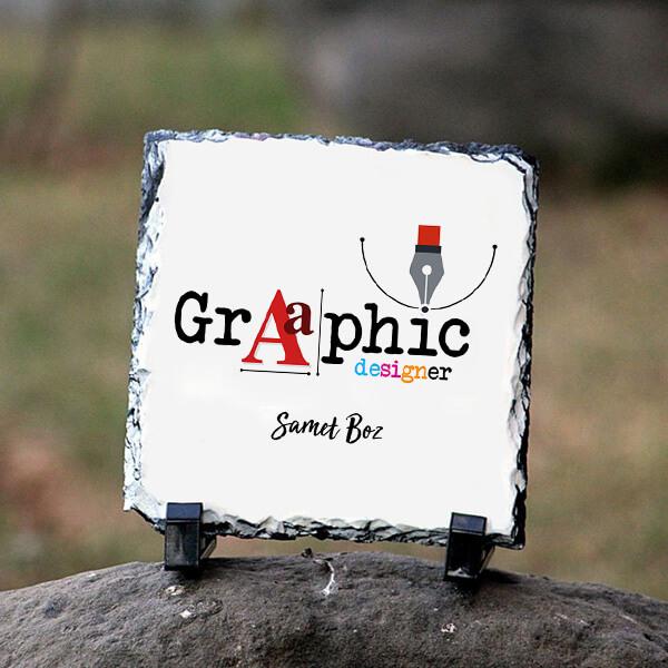 Grafik Tasarımcısına Hediye Kare Taş Baskı
