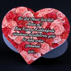Gül Desenli Kişiye Özel Kalp Puzzle - Thumbnail