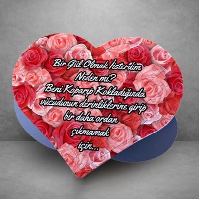 - Gül Desenli Kişiye Özel Kalp Puzzle