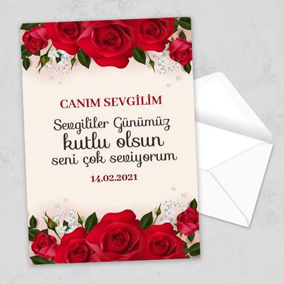 - Gül Desenli Sevgililer Günü Mektubu