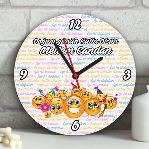 Gülen Emojiler Doğum Günü Duvar Saati