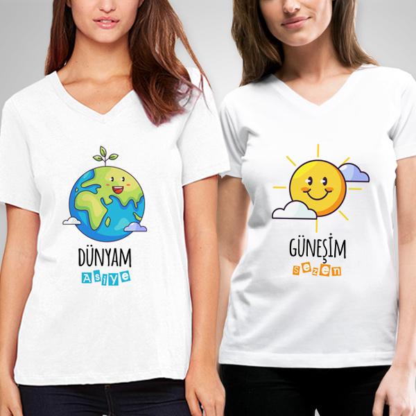 Güneşim ve Dünyam Arkadaş Tişörtleri