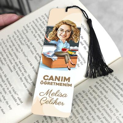 Güzel Öğretmenimiz Karikatürlü Kitap Ayracı - Thumbnail