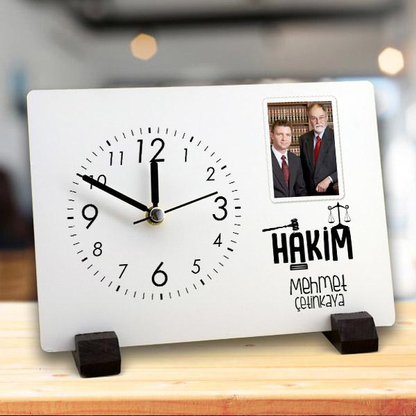 Hakime Hediye İsim Yazılı Masa Saati