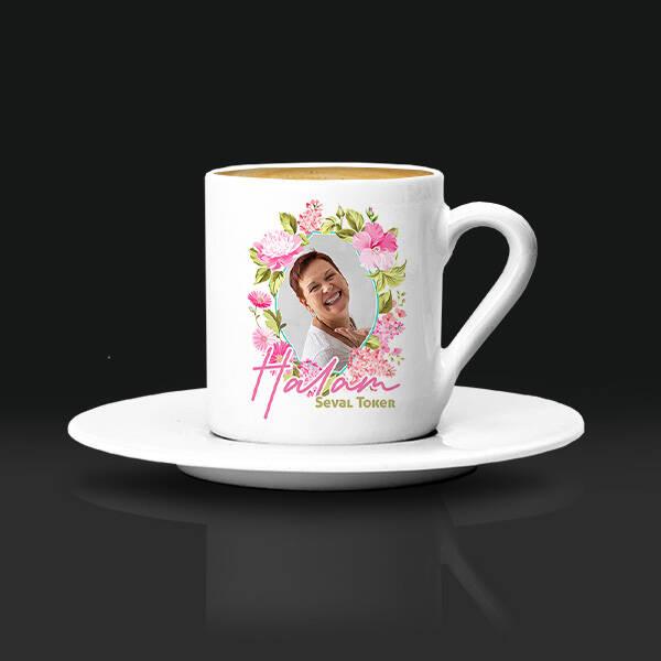 Halaya Hediye Çiçek Desenli Kahve Fincanı
