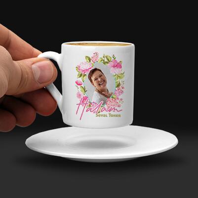 Halaya Hediye Çiçek Desenli Kahve Fincanı - Thumbnail