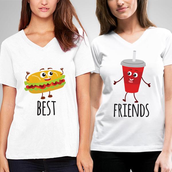 Hamburger ve Kola Arkadaşlık Tişörtü