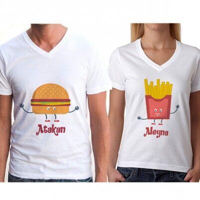 - Hamburger ve Patates Sevgili Tişörtleri