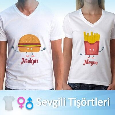 Hamburger ve Patates Sevgili Tişörtleri - Thumbnail