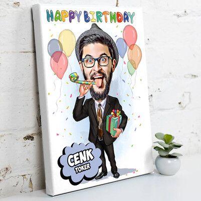 - Happy Birthday Karikatürlü Kanvas Tablo