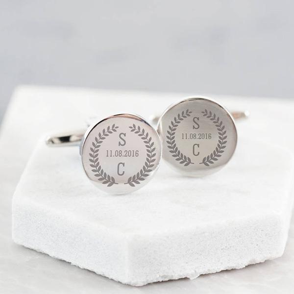 Harfli Gümüş Kol Düğmesi Yuvarlak