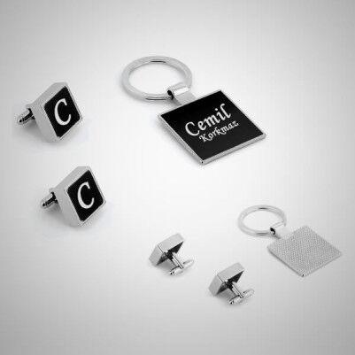 Harfli Kol Düğmeleri ve Anahtarlık Hediye Seti - Thumbnail
