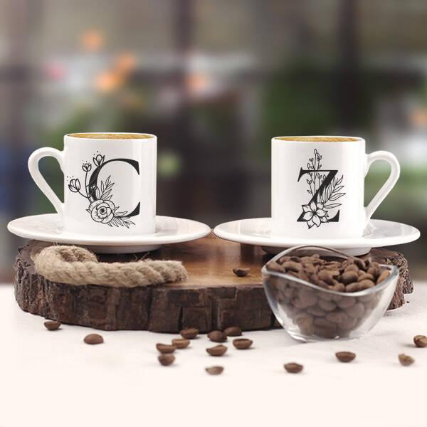 Harfli Sevgiliye Hediye İkili Kahve Fincanı