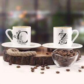 - Harfli Sevgiliye Hediye İkili Kahve Fincanı