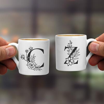Harfli Sevgiliye Hediye İkili Kahve Fincanı - Thumbnail