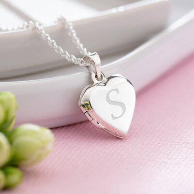 Harfli ve Fotoğraflı Gümüş Kalp Kolye - Thumbnail