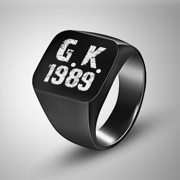Harfli ve Tarihli Erkek Yüzüğü